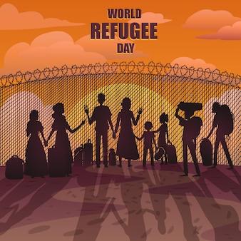 Journée mondiale des réfugiés avec des silhouettes