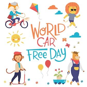 Journée mondiale sans voiture activité amusante des animaux ville amour vert célébration de la terre