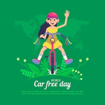 Journée mondiale sans voiture au design plat