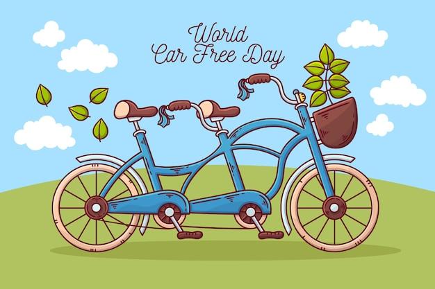Journée mondiale sans voiture dessinée à la main