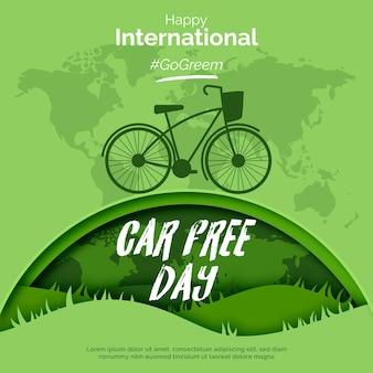 Journée mondiale sans voiture du design plat