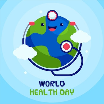 Journée mondiale de la santé au design plat