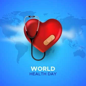 Journée mondiale de la santé avec cœur et stéthoscope