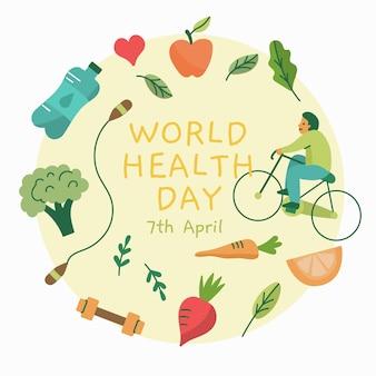 Journée mondiale de la santé design dessiné à la main