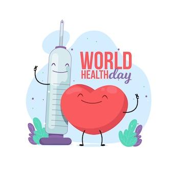 Journée mondiale de la santé design plat avec seringue