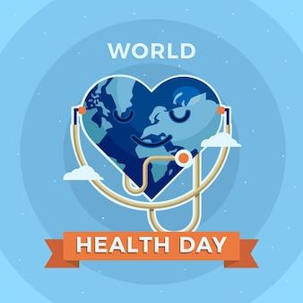 Journée mondiale de la santé design plat