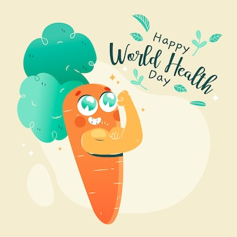 Journée mondiale de la santé dessinée à la main avec carotte