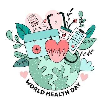 Journée mondiale de la santé dessinée à la main avec des coeurs