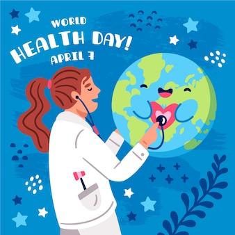 Journée mondiale de la santé dessinée à la main avec un médecin consultant planète heureuse