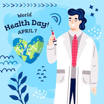 Journée mondiale de la santé dessinée à la main avec un médecin de sexe masculin