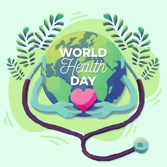 Journée mondiale de la santé dessinée à la main avec la planète et le coeur