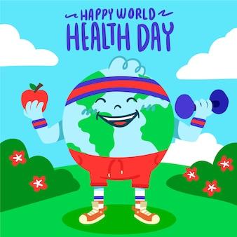 Journée mondiale de la santé dessinée à la main avec la terre faisant des exercices