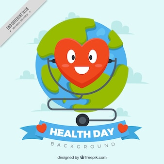 Journée mondiale de la santé de fond avec coeur heureux