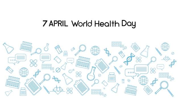 Journée mondiale de la santé médecine bannière fond esquisse