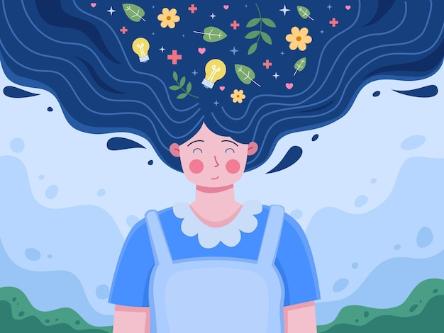 Journée mondiale de la santé mentale le 10 octobre avec des personnes relaxantes clear your mind positive thinking