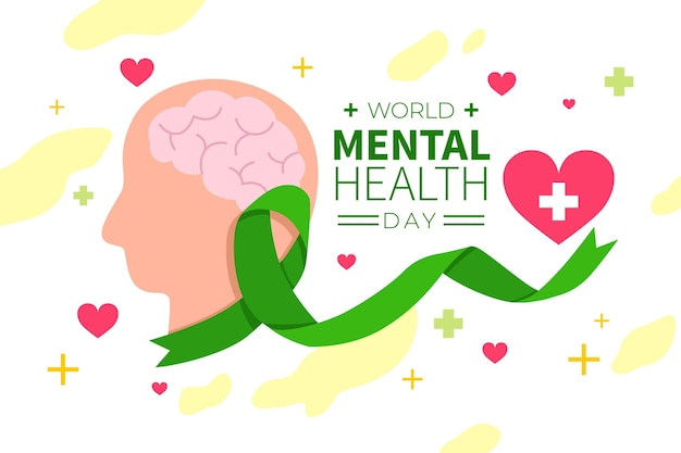 Journée mondiale de la santé mentale design dessiné à la main