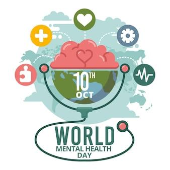 Journée mondiale de la santé mentale design plat