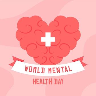 Journée mondiale de la santé mentale dessinée à la main avec cerveau en forme de coeur