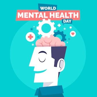 Journée mondiale de la santé mentale dessinée à la main avec tête et engrenages