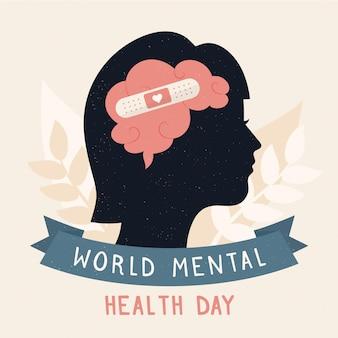 Journée mondiale de la santé mentale de fond design plat avec cerveau et pansement