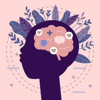 Journée mondiale de la santé mentale de fond dessiné à la main