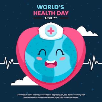 Journée mondiale de la santé avec planète et cœur