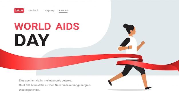 Journée mondiale de sensibilisation au sida, signe de ruban rouge, femme, course, concept de cure, prévention médicale