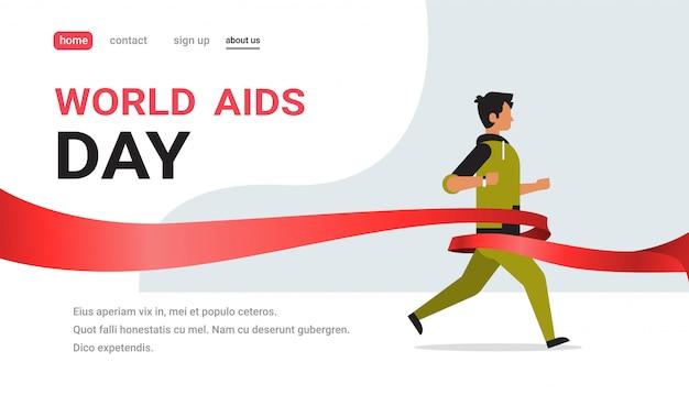 Journée mondiale de sensibilisation au sida, signe de ruban rouge, homme, à, course, pour, cure, concept, prévention médicale