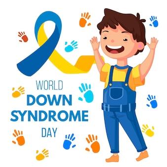 Journée mondiale de la trisomie 21 dessinée à la main avec un garçon