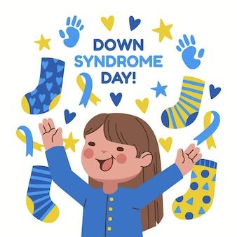 Journée mondiale de la trisomie 21 dessinée à la main