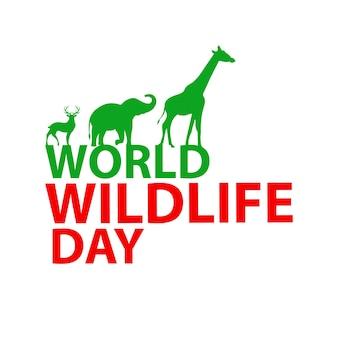 Journée Mondiale De La Vie Sauvage Vecteur Premium