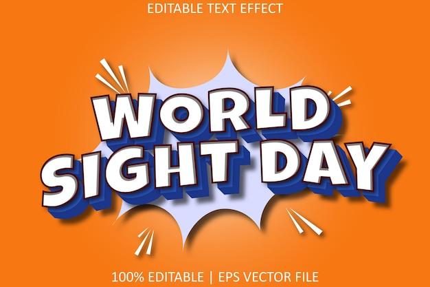 Journée mondiale de la vue avec effet de texte modifiable de style comique moderne