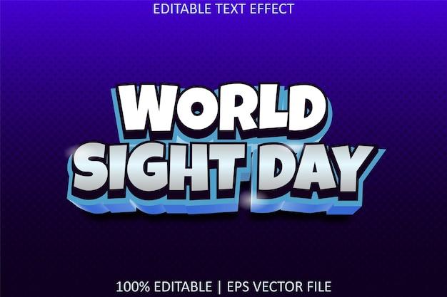 Journée mondiale de la vue avec effet de texte modifiable de style moderne