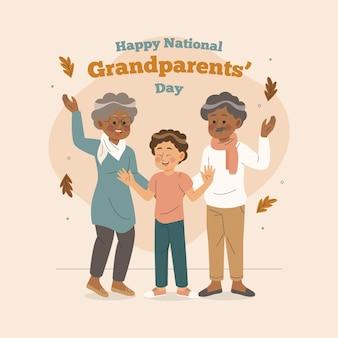 Journée nationale des grands-parents dessinés à la main avec petit-fils