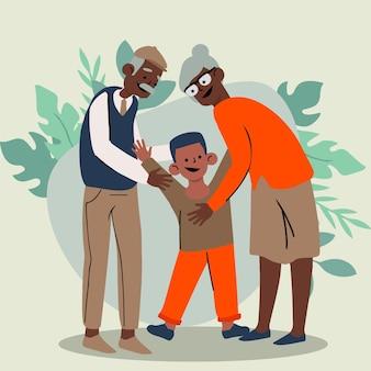 Journée nationale des grands-parents avec les grands-parents et le neveu