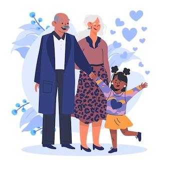 Journée nationale des grands-parents avec les grands-parents et la nièce