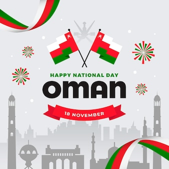 Journée nationale d'oman design plat