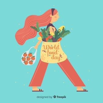 Journée de la nourriture mondiale dessinée illustration