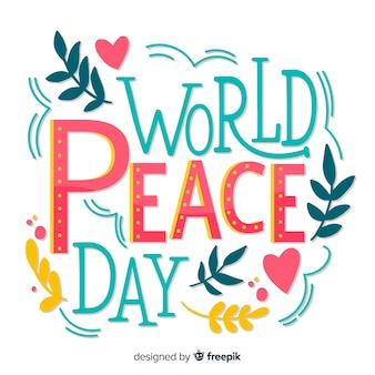 Journée de la paix colorée lettrage de fond