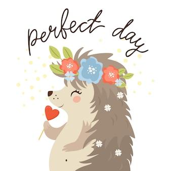 Journée parfaite, hérisson avec des bonbons