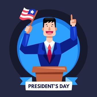 Journée des présidents design plat