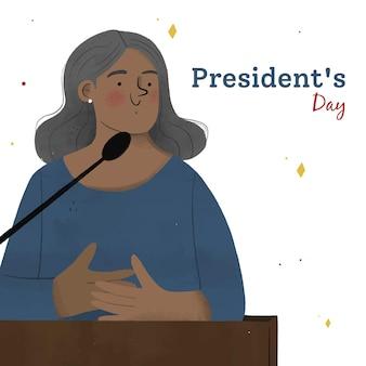 Journée des présidents dessinés à la main