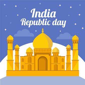 Journée de la république plate avec le taj mahal