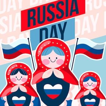 Journée de la russie avec des poupées matriochka et des drapeaux