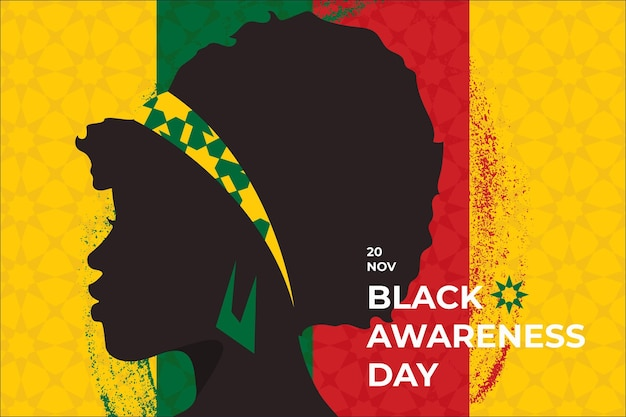Journée de sensibilisation au noir au design plat
