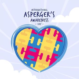Journée de sensibilisation internationale asperger dessinée à la main