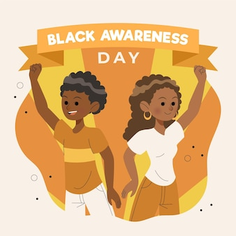 Journée de sensibilisation noir fond dessiné à la main