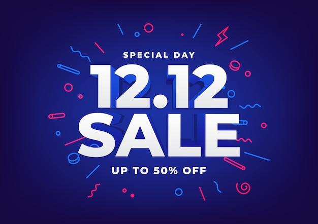 Journée spéciale 12.12 affiche de vente de jour de magasinage ou conception de flyer.