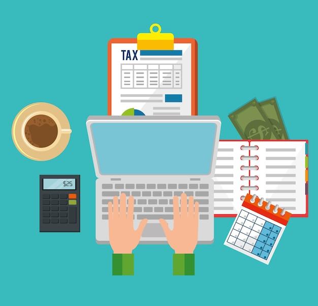 Journée de la taxe définie des icônes vector illustration design