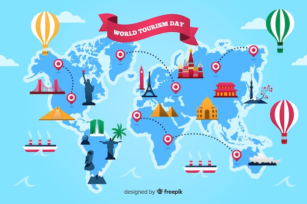 Journée de tourisme design plat avec points de repère